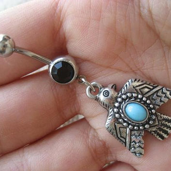 Thunderbird Belly Button Ring Jewelry Turquoise Tribal Thunder Bird Eagle Hawk Charm Navel Piercing