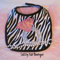 Zebra Baby Bib-Diamond ring