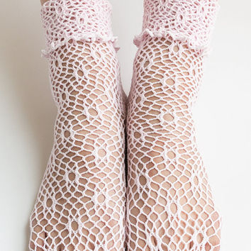 Women New Hezwagarcia Cute Cozy Knit Mesh Hole Net Blush Pink Color See Through Cotton Ankle Socks Stocking