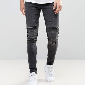 New Look Super Skinny Biker Jeans With Zips In Black at asos.com