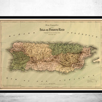 Vintage Old Map of Puerto Rico Island, 1886, Antique map
