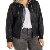Plus Size Faux Leather and Fleece Bomber Jacket