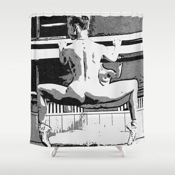 White Swan - erotic nude, sexy conte ballerina, naked woman body art, kinky girl ballet dancer adult Shower Curtain by Peter Reiss