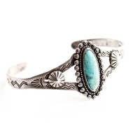 Vintage Sterling Silver Turquoise Cuff Bracelet - Small Size Signed Native American Jewelry / Tribal Teal