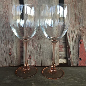 2 Pink stemmed wine glasses marked FRANCE, vintage glassware for wedding toasting, vintage wine glasses, baby shower glasses, pink glassware