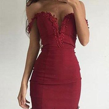 ONETOW Appliques Sheath Short Off Shoulder Burgundy Homecoming Dress