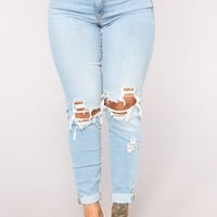 Guess Who's Back Distressed Jeans - Light Blue Wash