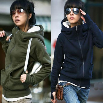Factory Price! Fashion Casual Women Hoodies Coat Top Jacket High Tie Zipper Sweatshirt Hooded Outerwear Sweater 4 Colors S M L = 1920109956