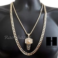 "MEN ICED OUT GOLD BASKETBALL HOOP CHARM CUT 30"" CUBAN LINK CHAIN NECKLACE S082G"