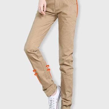 Casual Women Solid Middle Waist Pockets Pants