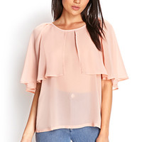 FOREVER 21 Cape-Sleeve Woven Top Peach
