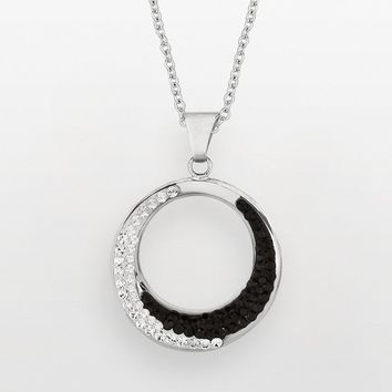 Silver on the Rocks Sterling Silver Black & White Crystal Circle Pendant - Made with Swarovski Elements