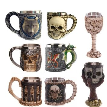 Stainless Steel Coffee Mug 3D Skull Mugs Wolf Animal Mugs Knight Tankard Dragon Beer Cups and Mugs Monster Goblet Wine Glass