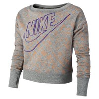 Nike Run Heritage Long-Sleeve Brushed-Fleece Girls' Top - Dark Grey Heather