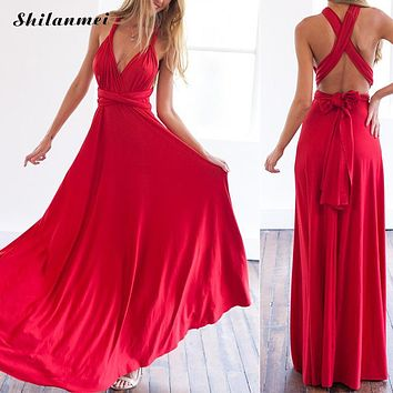 2017 Sexy Summer Long Maxi Dress Bandage Multiway Bridesmaids Convertible Dress Women Infinity Wrap Dress Beach Vestidos