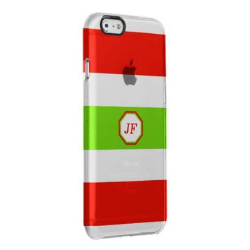 Stripes White Red Green Clear iPhone 6/6S Case