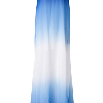 Women Strapless Gradient Chiffon Maxi Dress Summer Beach Dress