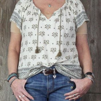 Cute Lucky Brand XL Blouse Ivory Beige Peasant Top Hippy Boho Casual Womens