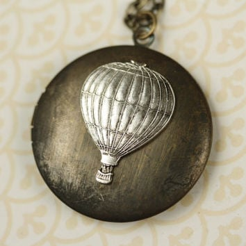 Long Hot Air Balloon Silver Locket Necklace, Vintage Pendant, Unique, Dark Chain, Two Tone Metal Jewelry