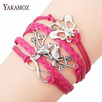 2017 New Brand Jewelry Silver Color with Infinity Love Butterfly Shaped Friendship Bracelet Bangles for Unisex