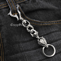 925 Sterling Silver Skull Hook Dragon Mens Biker Rocker Keychain 8F013KC Punk Accessory