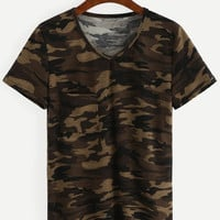 V-Neck Camo T-shirt - Olive Green