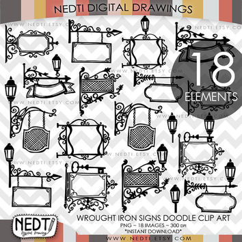 Wrought Iron Sign Doodle Clip Art, Paris France Signs Clipart, Digital Images, PNG, High Resolution, Downloadable