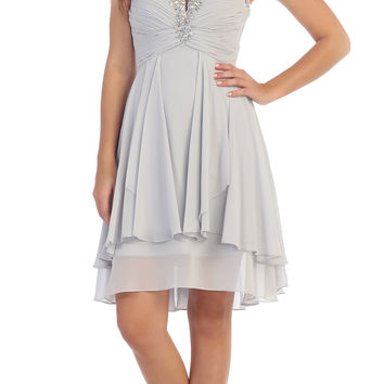 Starbox USA S6099 Beaded Ruched Bust Silver Chiffon A-line Short Prom Dress Sweetheart Neck