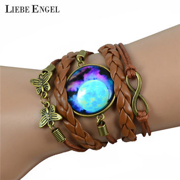 LIEBE ENGEL Multilayer Braided Bracelet Bangles Milky Way Galaxy Cabochon Infinity Charms Wristband Cuff Leather Bracelet Women
