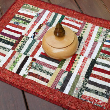 Holiday Table Topper, Quilted Table Runner, Christmas Centerpiece, A Special Little Quilt for the Christmas Season