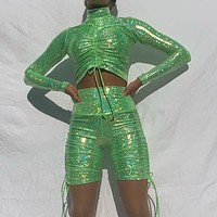 BKLD Sparkly Sequined 2 Piece Sets Woman Autumn Party Club Outfits Long Sleeve Drawstring Crop Tops And Biker Shorts Womens Suit