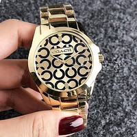 """COACH"" Trending Woman Men Stylish Personality Quartz Movement Wristwatch Watch Golden I-H-JH"