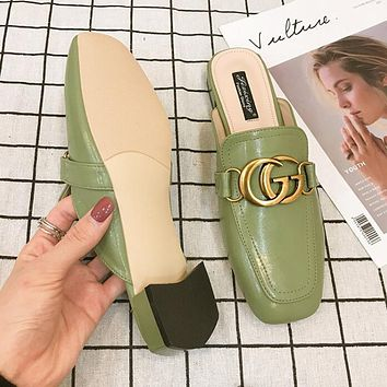 Gucci Hot Sale Trending Women Stylish Metal Double G Sandal Slipper Shoes Green
