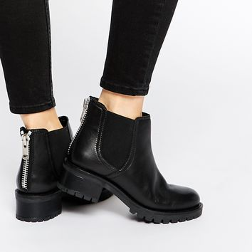 Faith Simca Black Leather Chelsea Boots