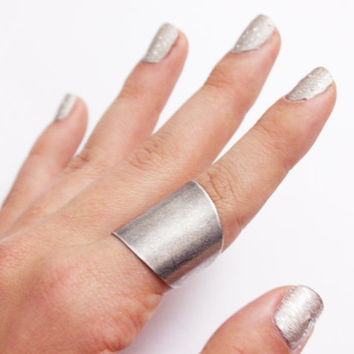 Antique Silver Tube Ring - wide band ring - adjustable ring Vintage Silver