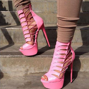 HOT Gorgeous Suede Peep Toe Pumps Women Platform Sandals 2016 Summer Fashion Sexy High Heels Stiletto Cut-Outs Lace Up Booties