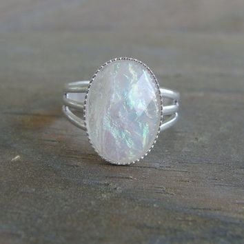 Faceted Opalescent Multicolor Ring Fire Opal Pink White Silver Adjustable Iridescent Moonstone Druzy Milky Sparkly Shimmering Crystal Cab