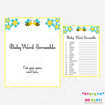 Blue Bee Baby Shower, Baby Word Scramble, Bumble Bee Baby Shower, Bee Baby Shower Game, Honey Bee Boy Baby Shower, Bee Word Scramble, BB01