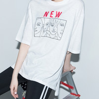 NEW Faces Print T-Shirt | mixxmix