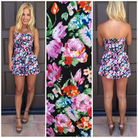 Sunday Kind Of Love Strapless Floral Romper