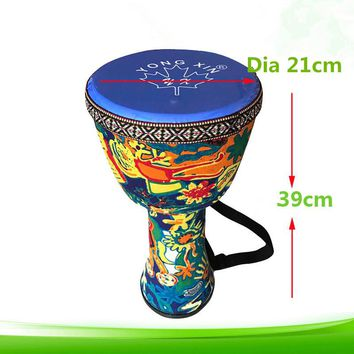Djembe Drum African Percussion Hand Mahogany With Pattern