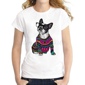 Asian Size Hipster Frenchie dog retro design women t-shirt fashion wearing dog short sleeve casual lady tops funny printed tee