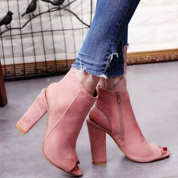 DCK7YE 2017 Fashion Women's Spring Summer Open Toe Boots Casual Faux Suede Ankle Boots Thick