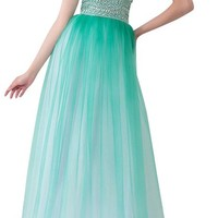Ansen Long Chiffon Prom Dress Strapless Beading Party Gown Lf-s027