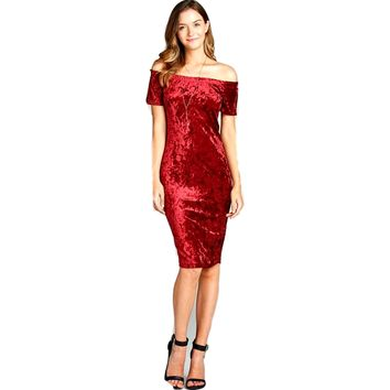 Curvy Short Sleeve Off the Shoulder Bodycon Velvet Midi Dress, Burgundy