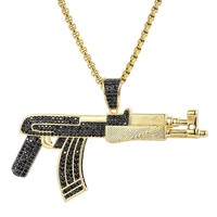 AK-47 Black Simulated Diamonds Iced Out Gun Pendant