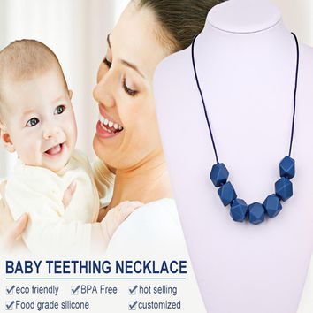 1pc Baby Teething Teether Necklace Food Grade Beads Teething Teether Baby Children Tooth Care Soft For Chew Baby Teether