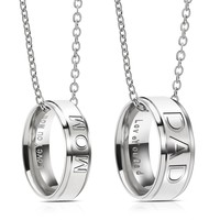 Fashion Charm Stainless Steel MOM DAD Ring Pendant Necklace Carved Letters Love You Mom Love You Dad Gifts