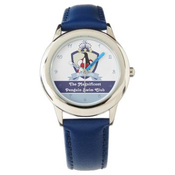Cute Penguin Swimming Club Crest Personalized Kids Watch