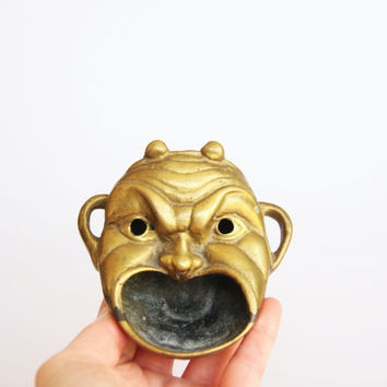 Brass monster face ashtray, weird oddity home decor, brass devil ashtray, dark home decor, horror prop decoration, creepy face ashtray